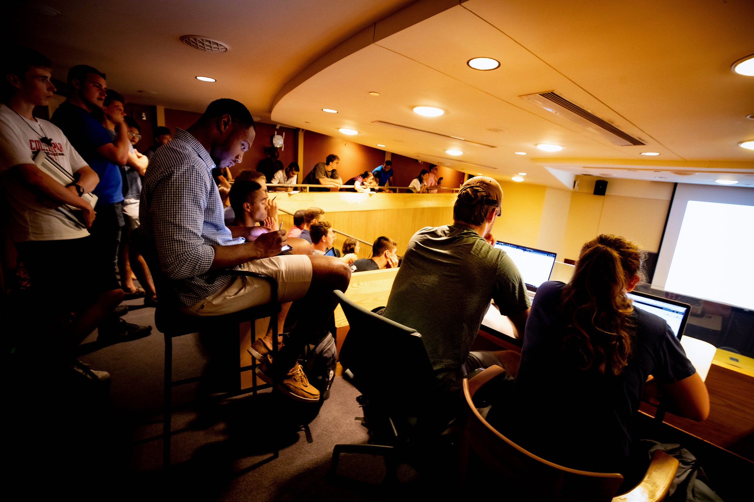 Students listen to lecture during class.
