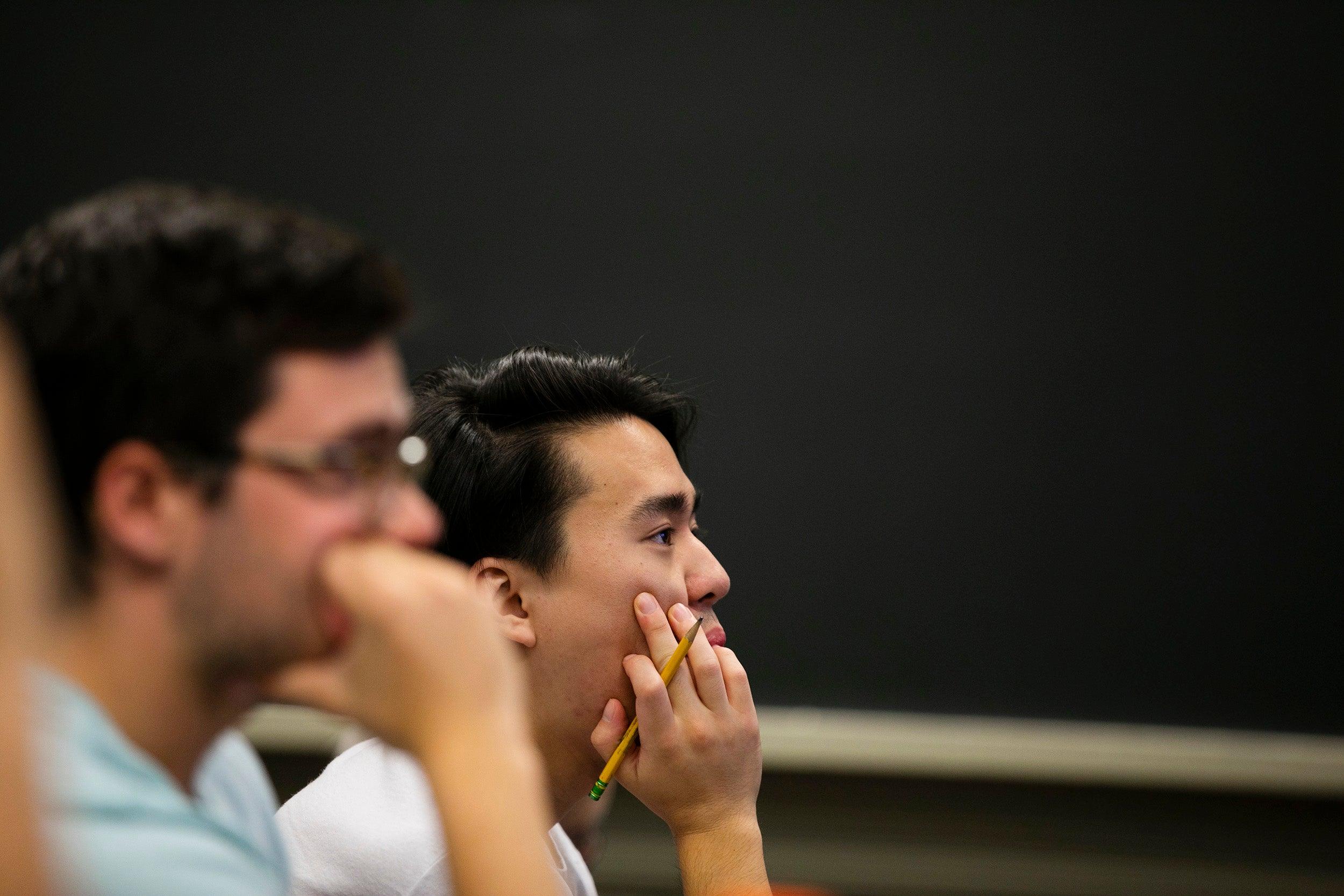 Students listen during class.