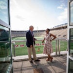 Dean, Claudine Gay and Athletics Director Bob Scalise