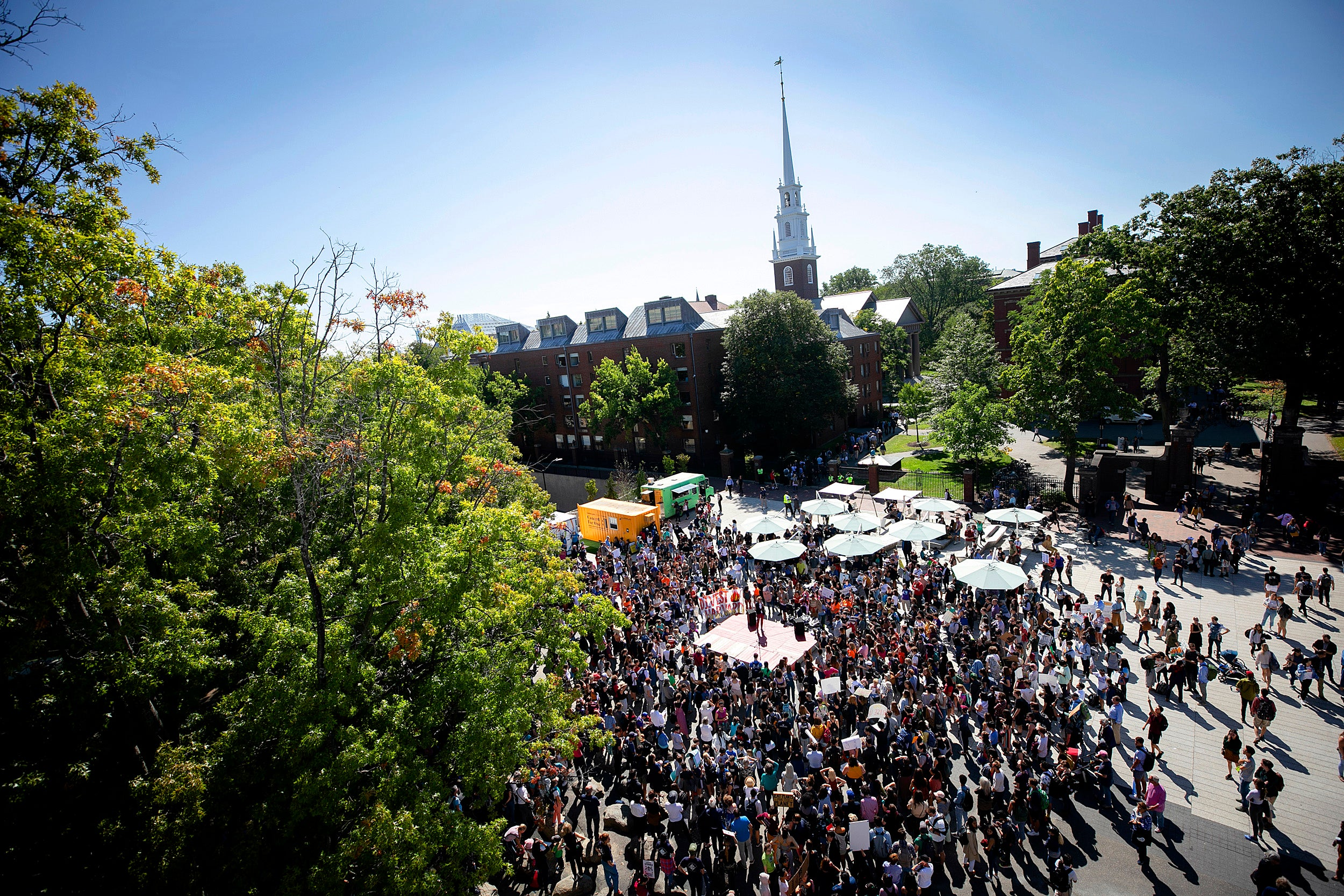 Crowd on Harvard Science Center Plaza