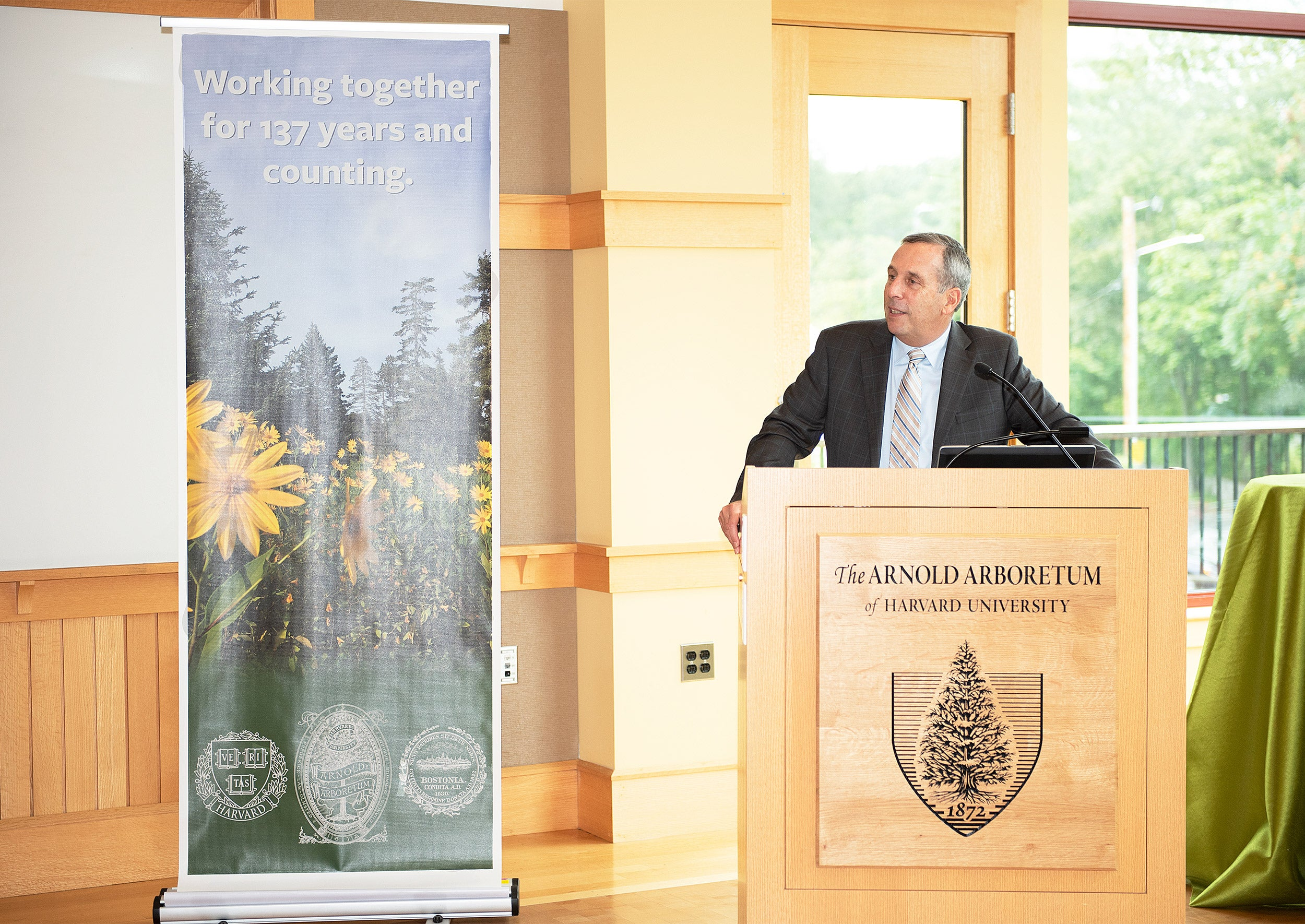 President Larry Bacow at Arboretum