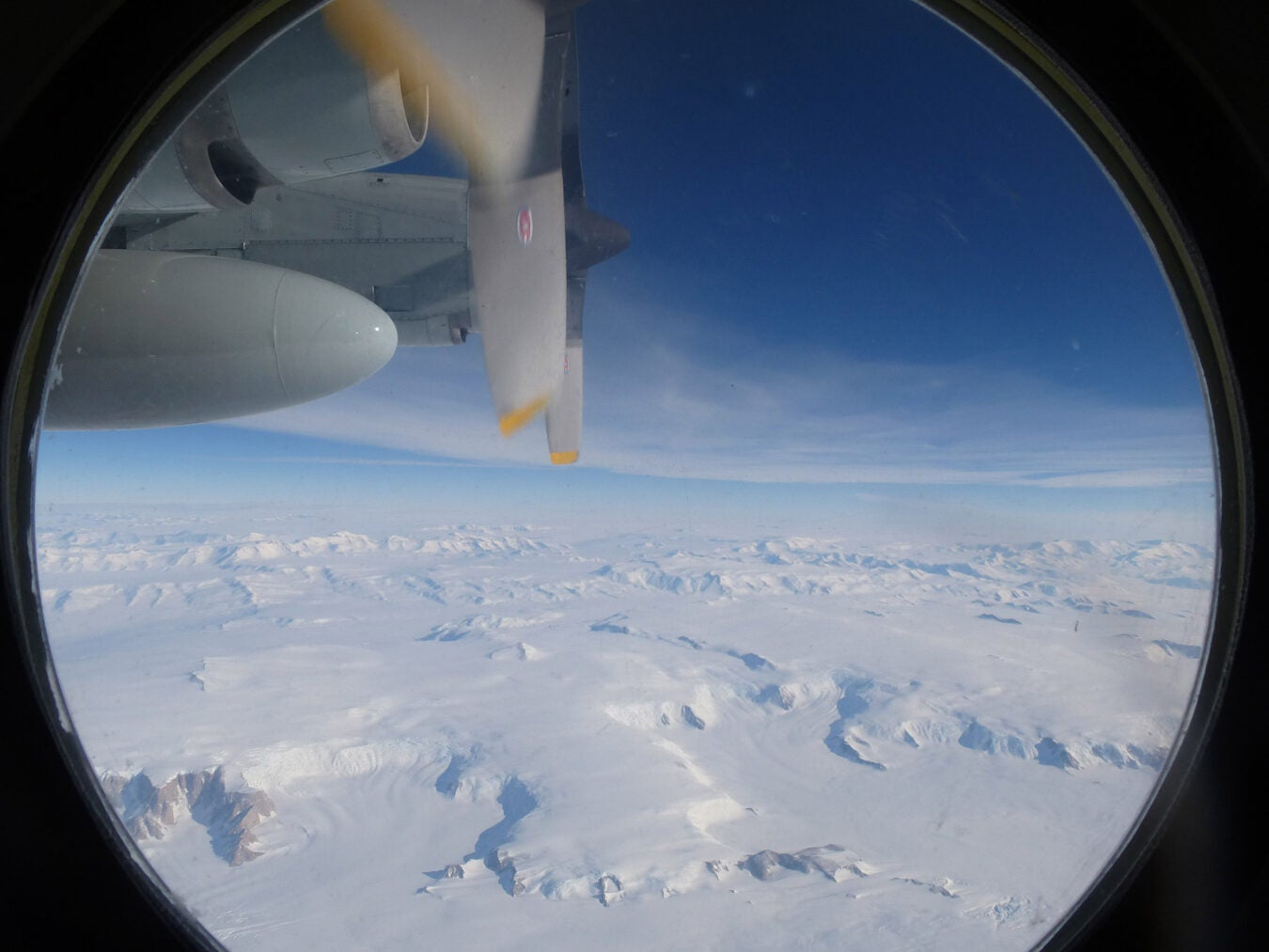 View from a flight crossing the transantarctic mountains.
