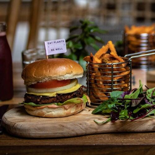 Plant based burger on plate