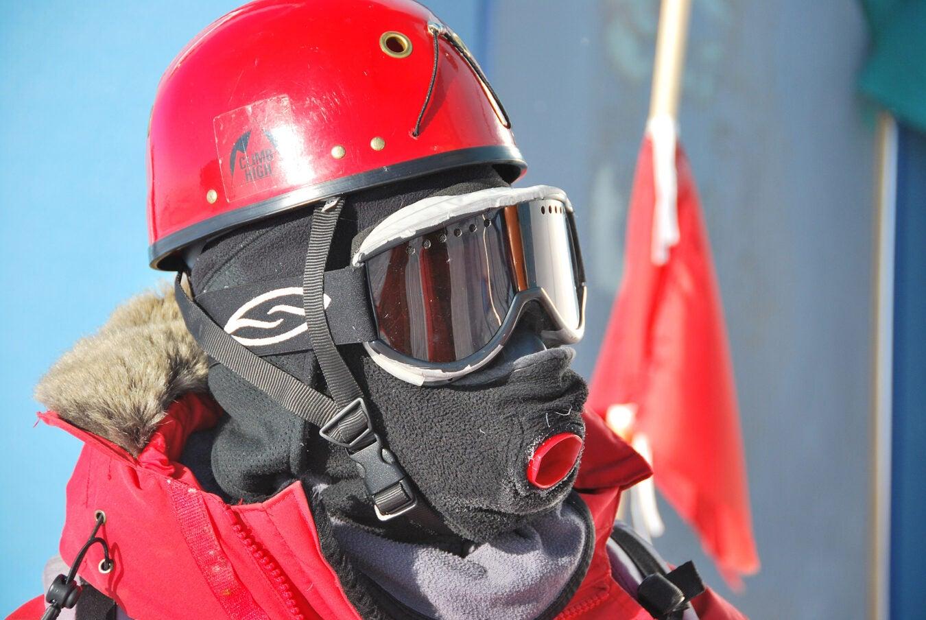 Robert Schwarz wearing winter breathing mask.