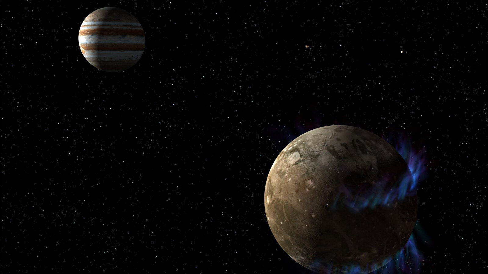 moon Ganymede orbits the giant planet Jupi