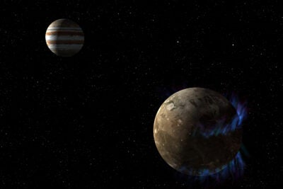 moon Ganymede orbits the giant planet Jupi