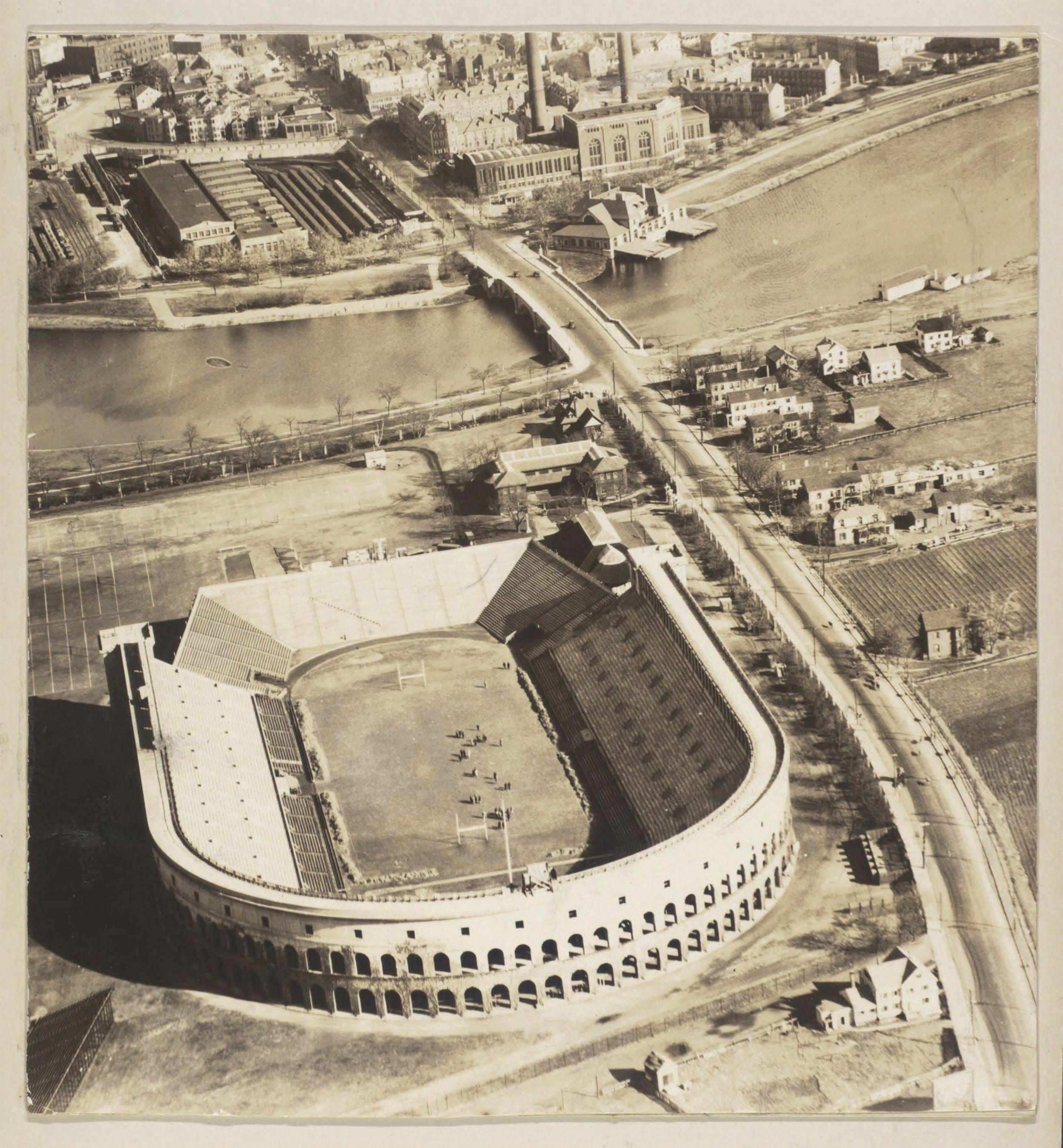 Aerial view of Harvard Stadium circa 1915.
