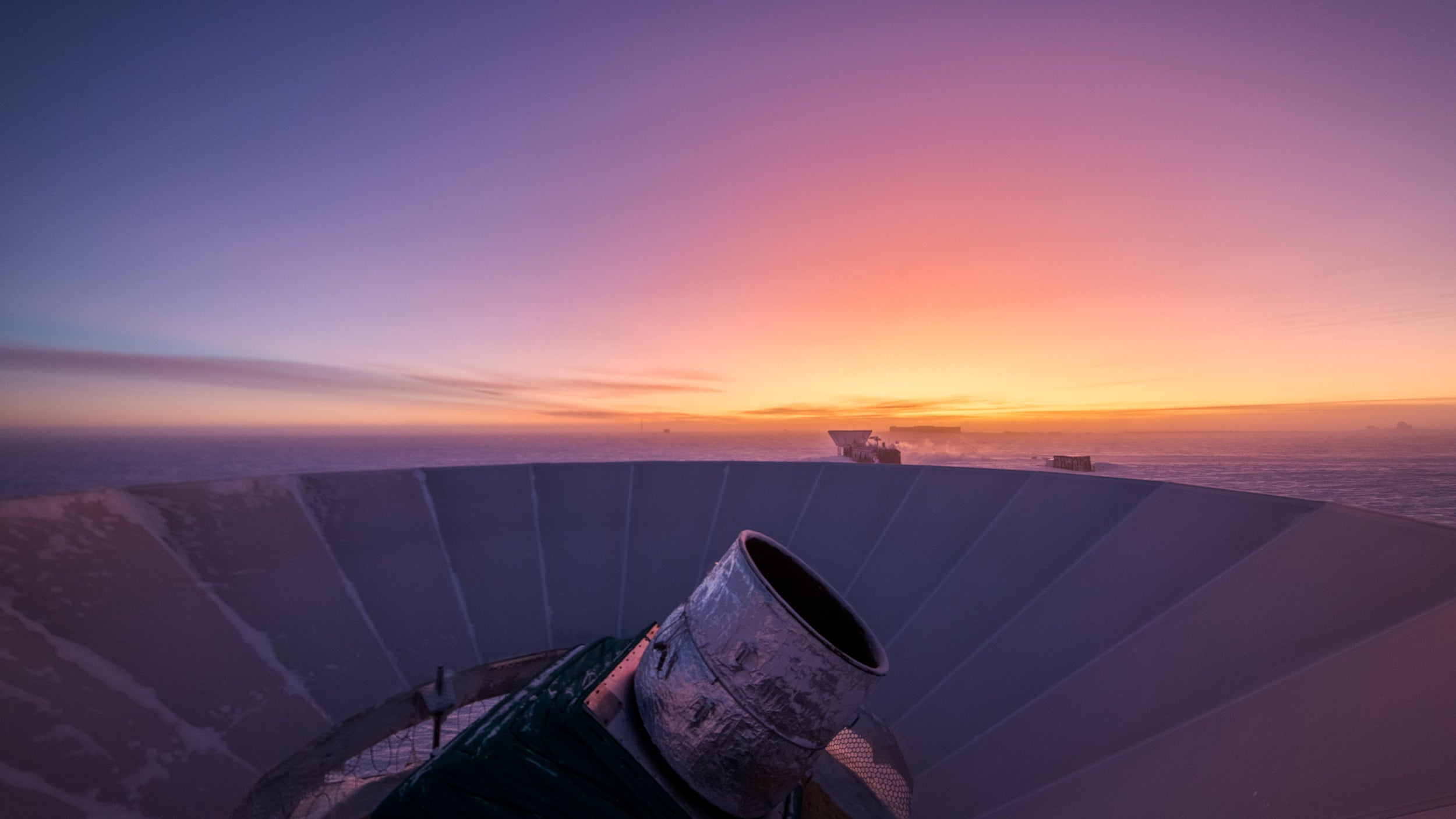The BICEP3 Telescope makes observations about a week before sunrise.