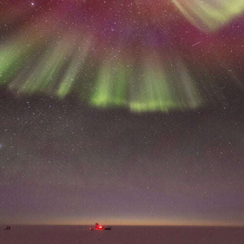 Auroras as seen from the Amundsen-Scott South Pole Station..
