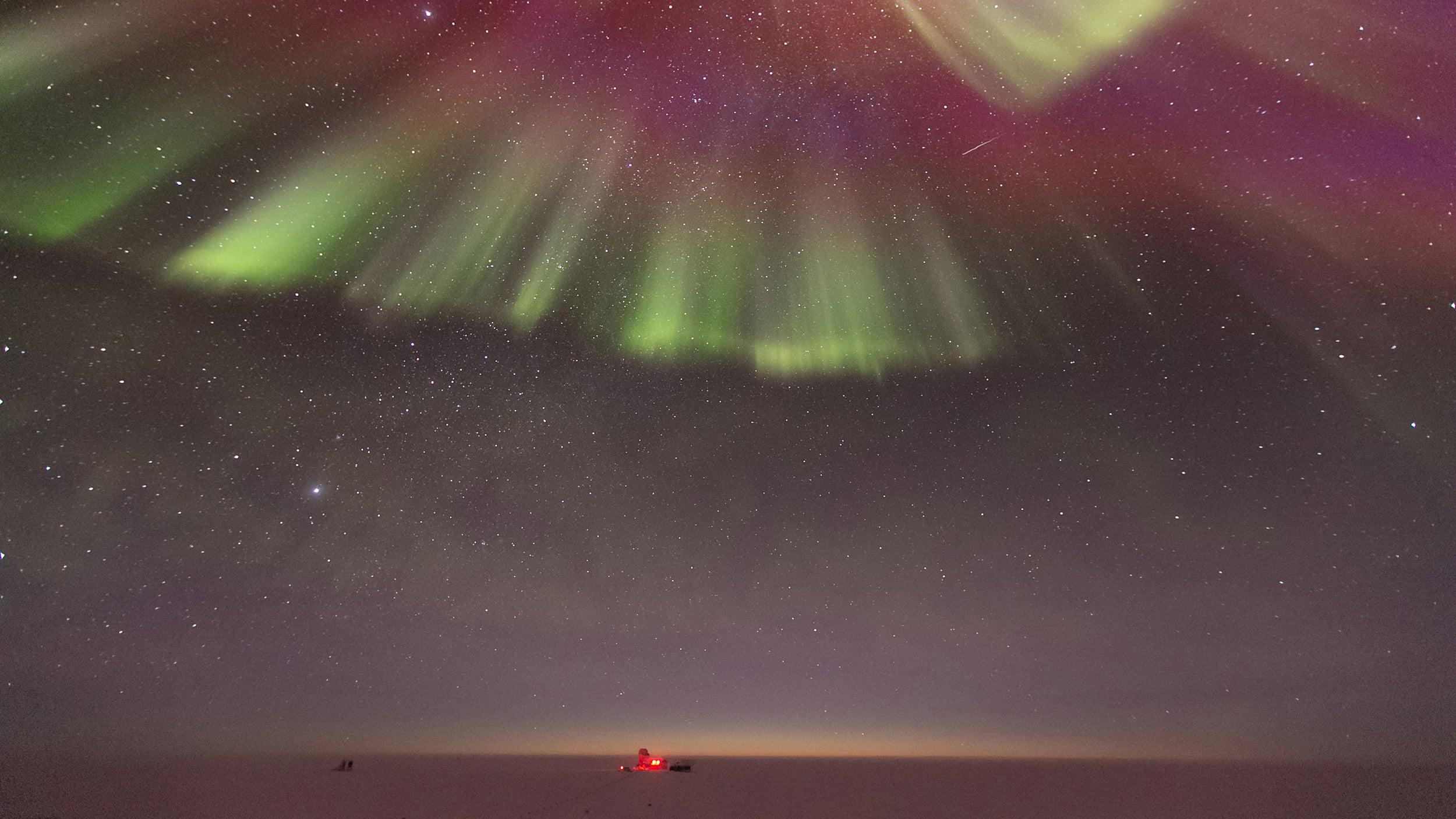 Auroras as seen from the Amundsen-Scott South Pole Station..