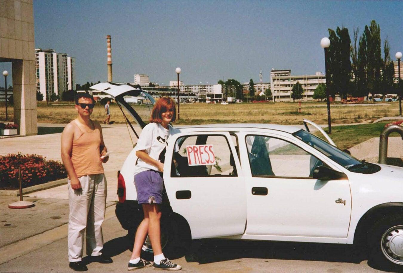 Samantha Power getting in press car