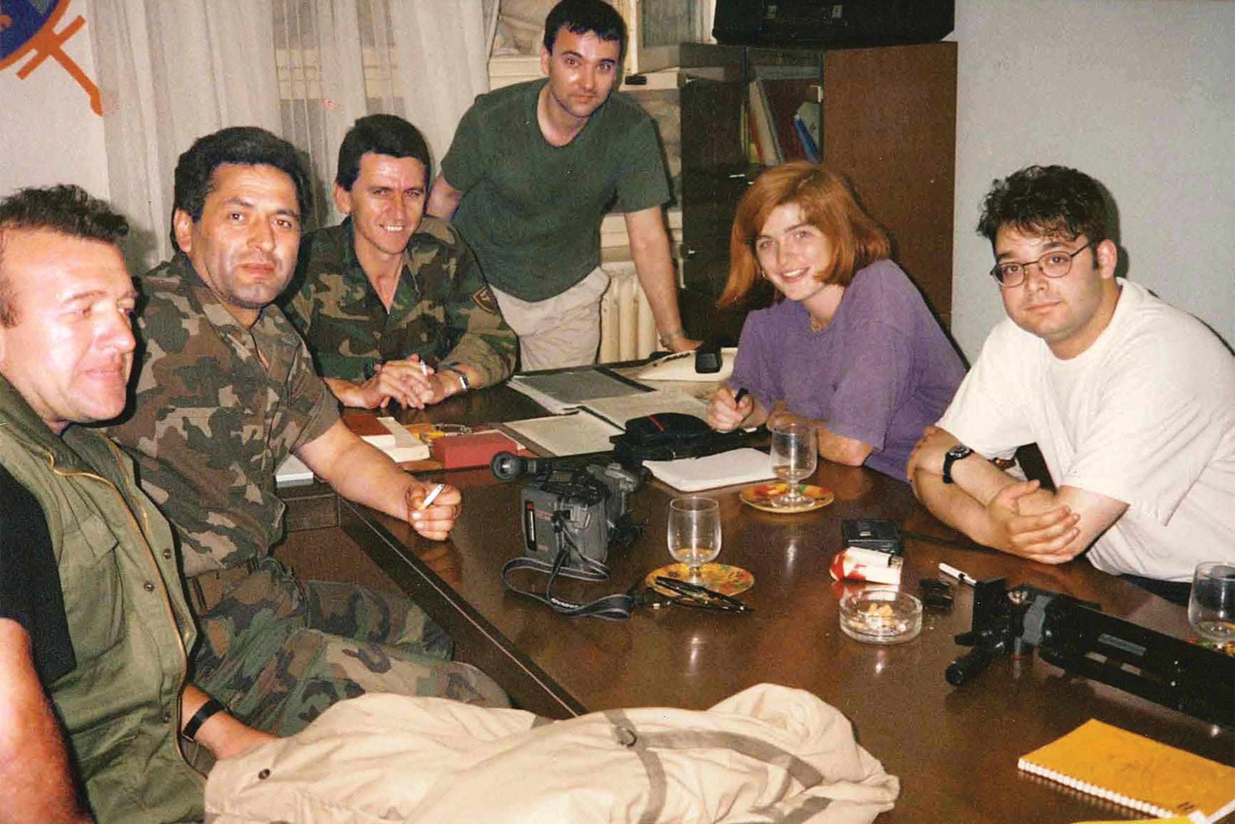Samantha Power interviewing Bosnian military