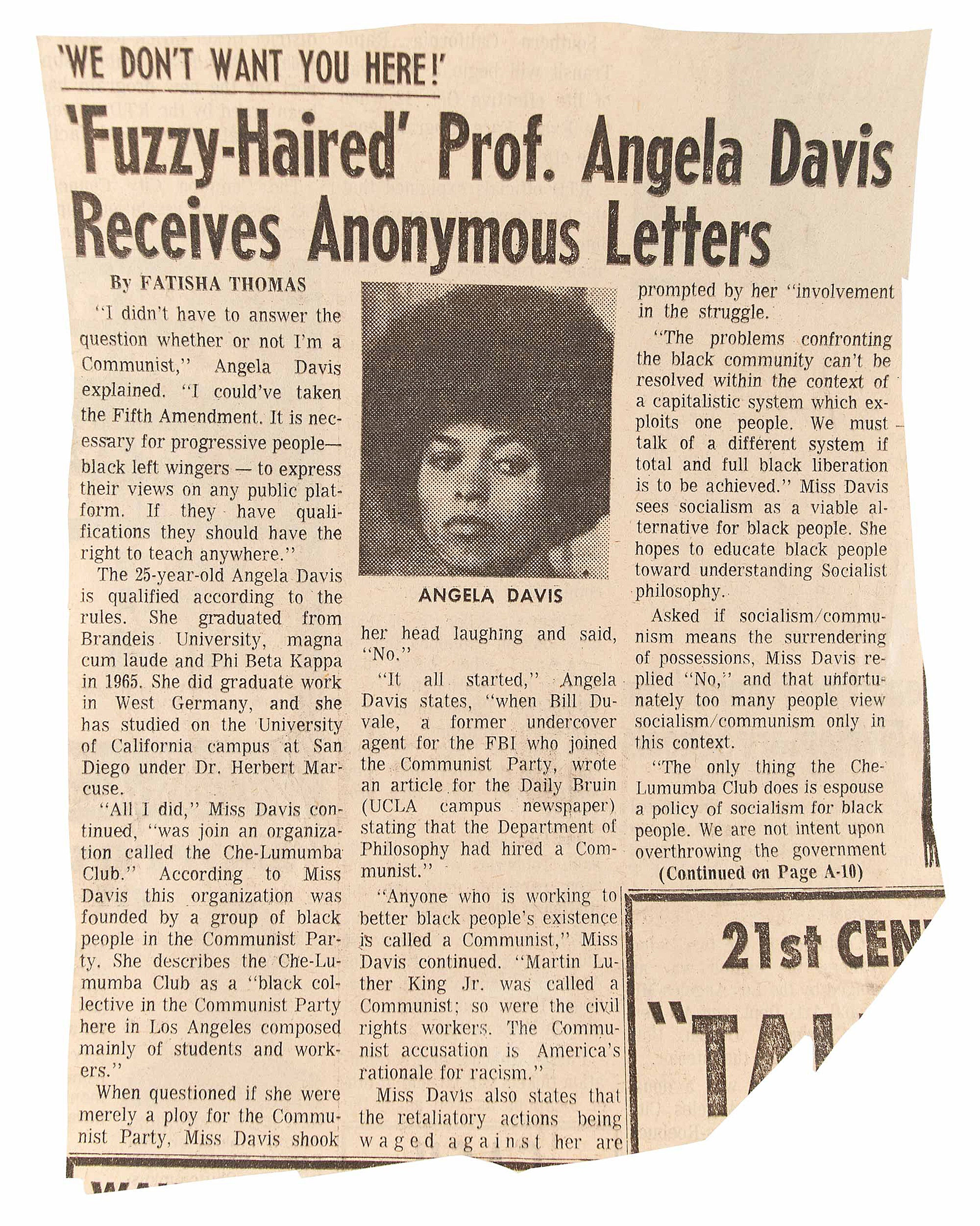 A newspaper clipping of an editorial on Angela Davis.