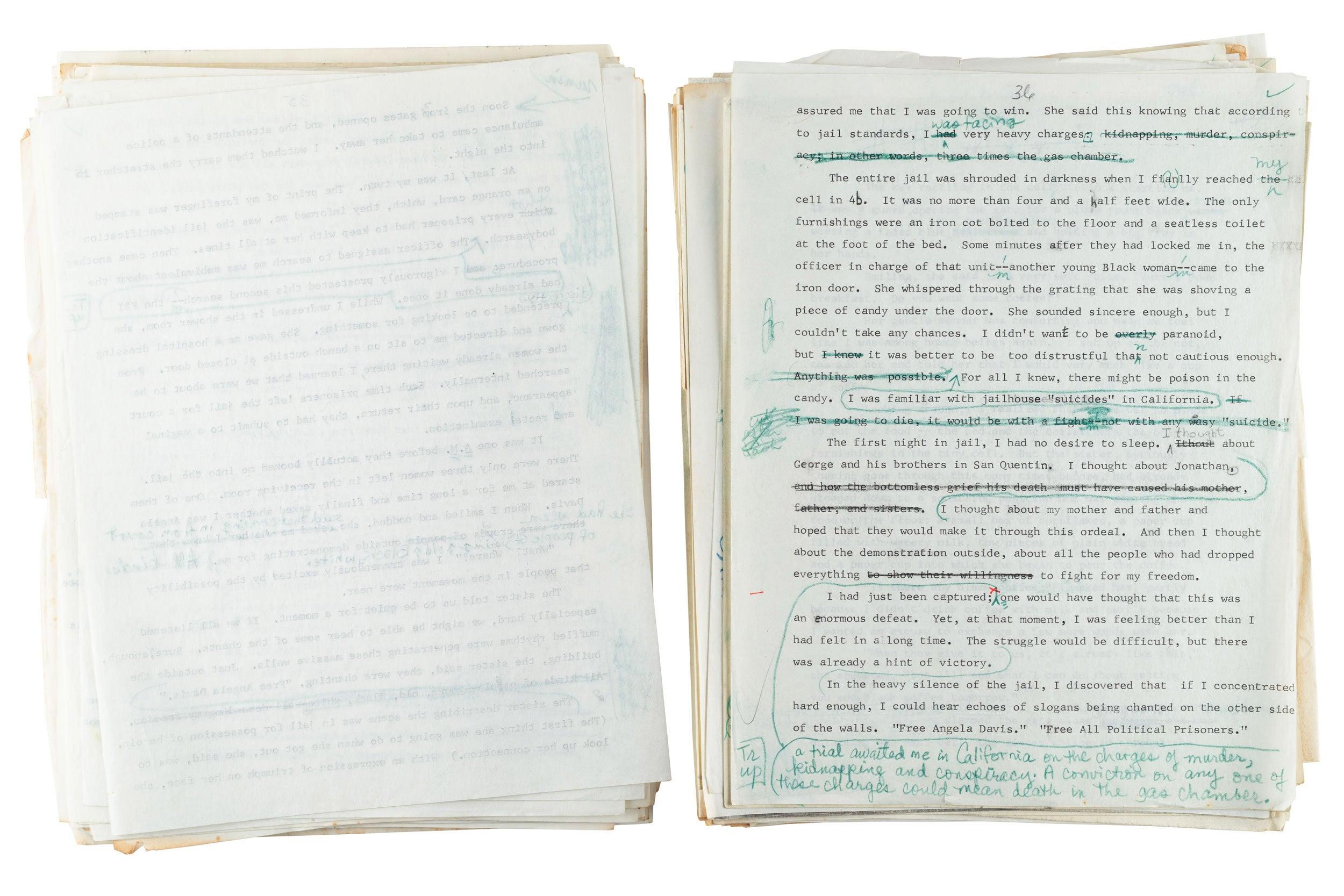 A manuscript with edits written in blue pen.