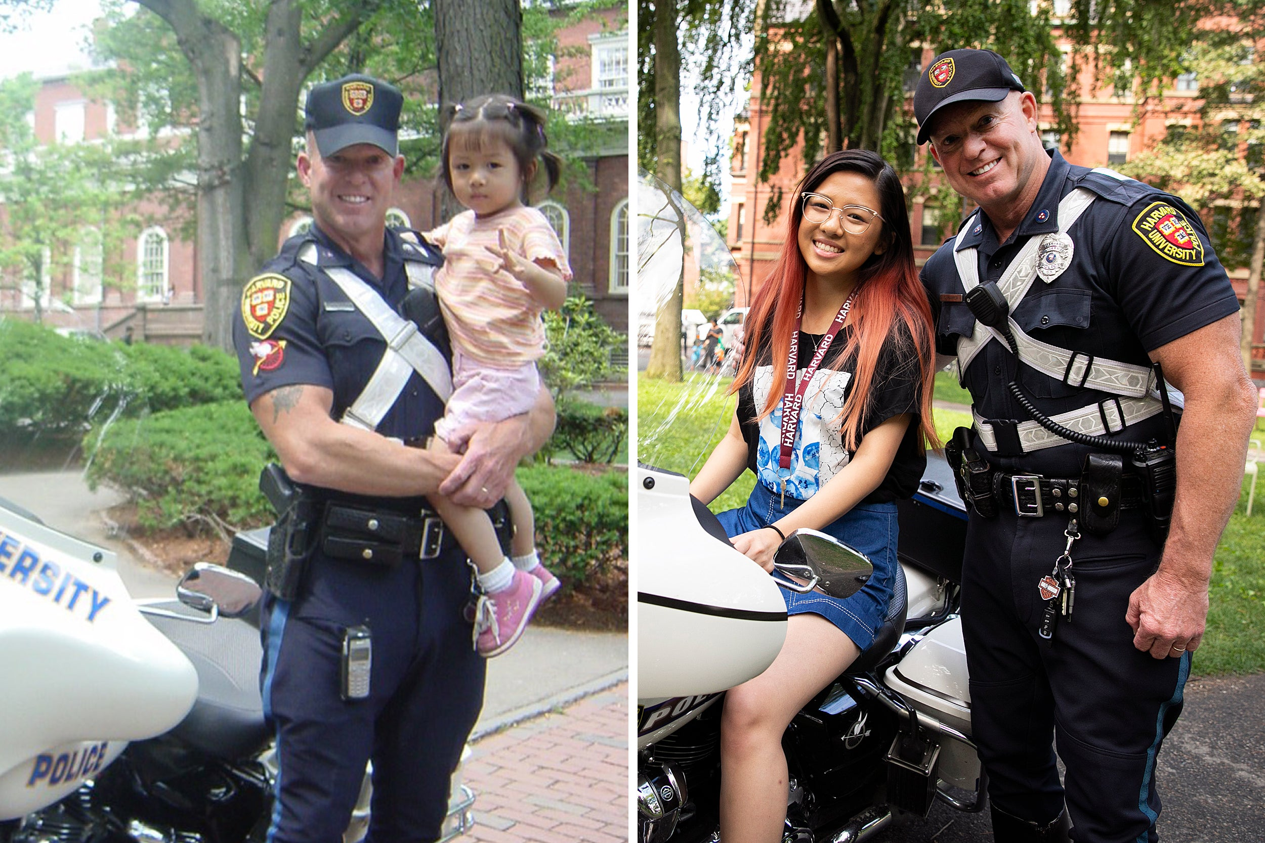 Charles Marren holds a 3-year-old Crystal Wang in 2004. Wang reunited with Marren upon her return to Harvard as a member of the Class of '23.
