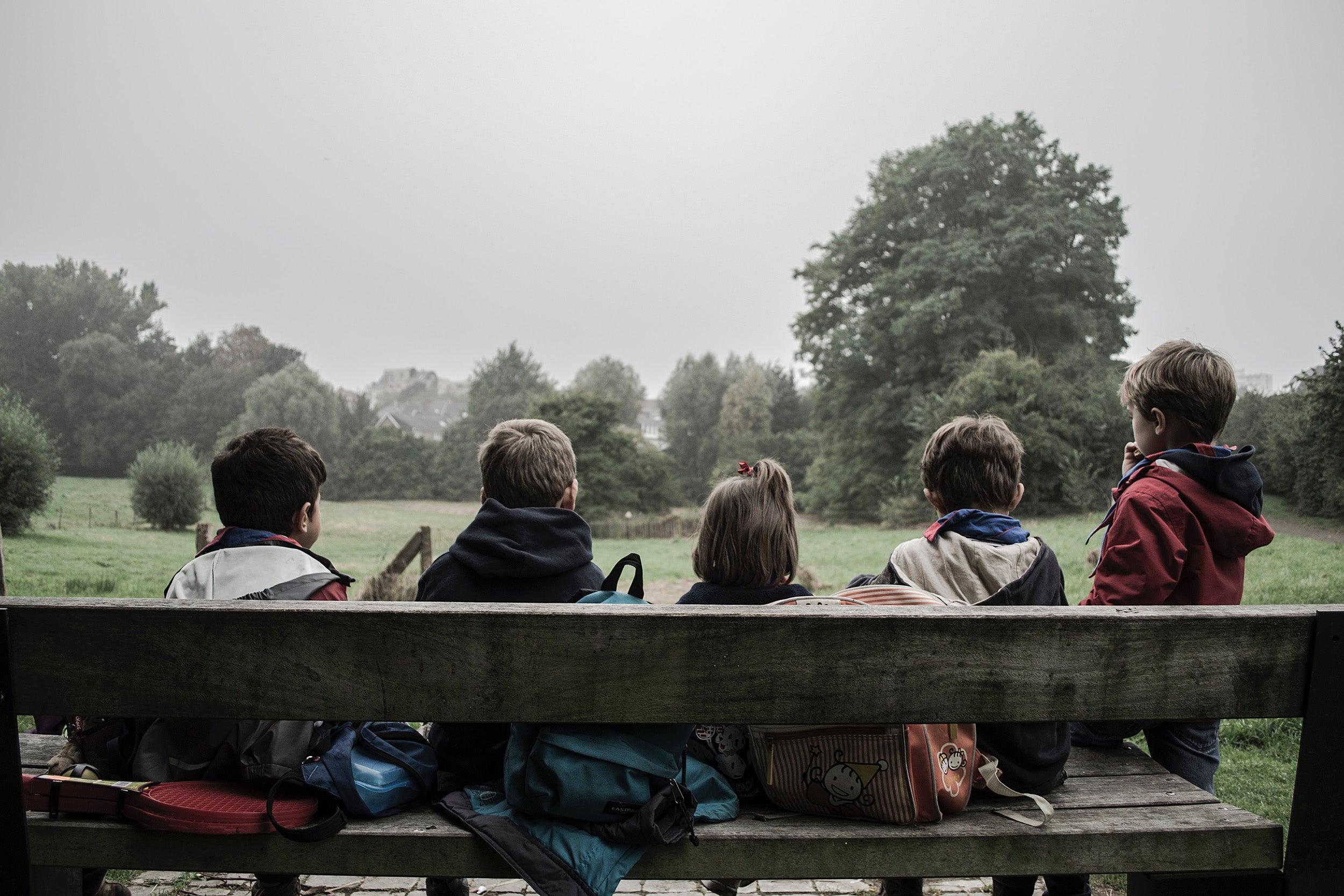 Children on a bench
