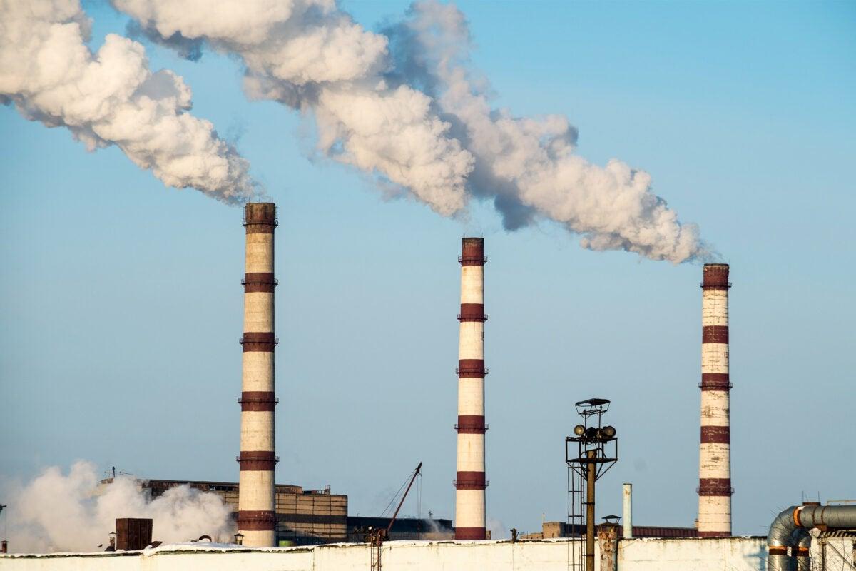 Power plant spewing smoke