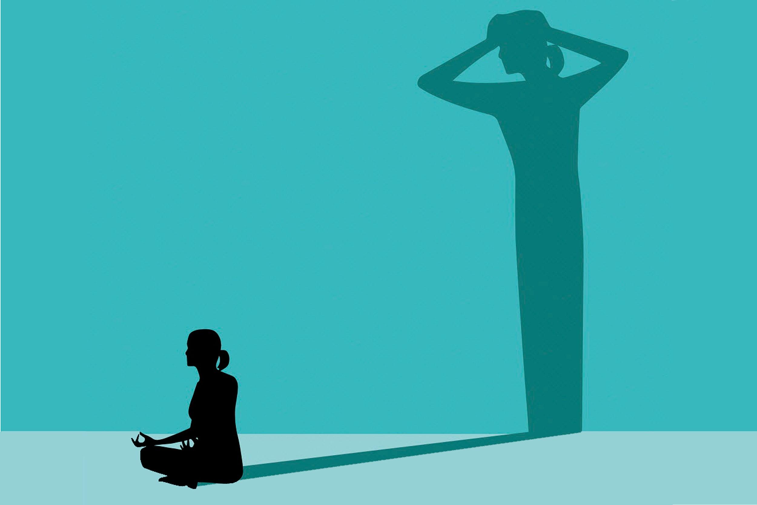 Illustration of meditator with fear shadow