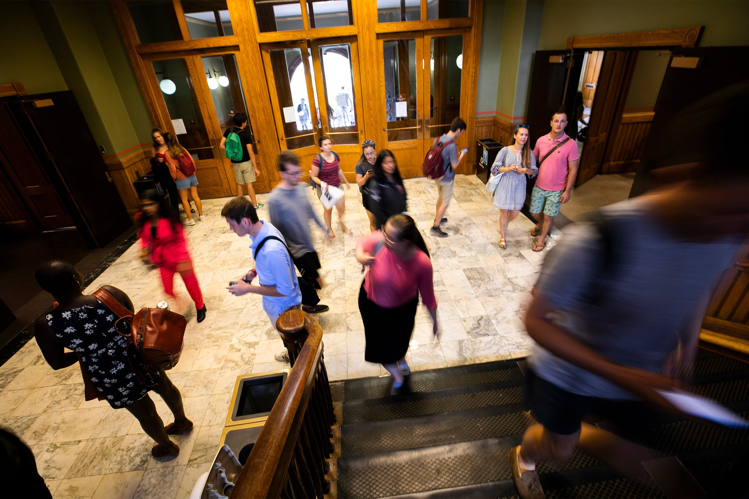 Students in Sever Hall