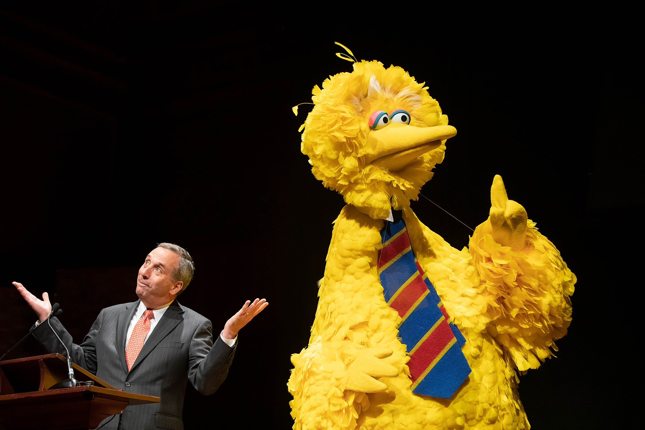 Big Bird and Larry Bacow