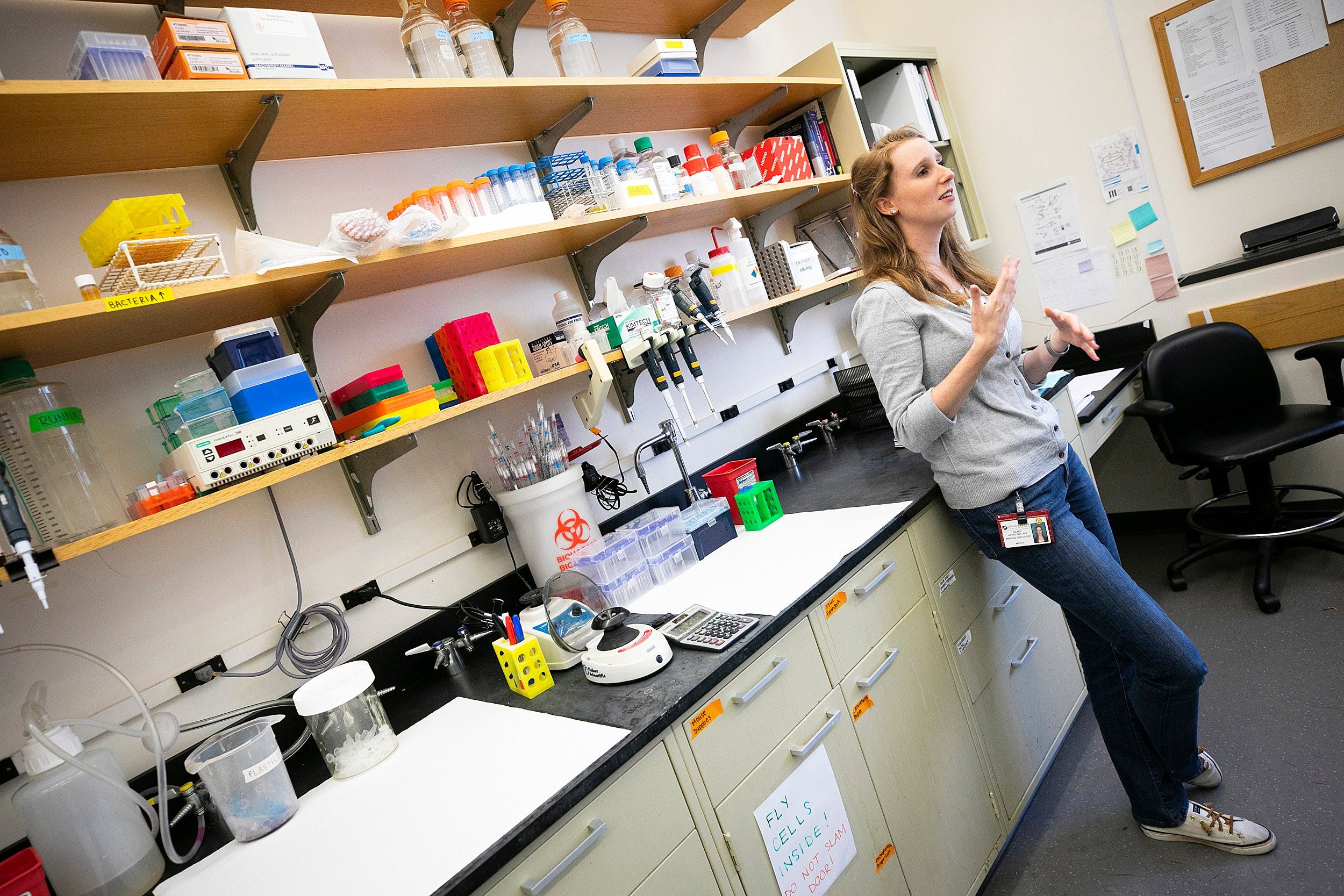 Hilary Nicholson is pictured in Kaelin's lab at Dana-Farber Cancer Institute.