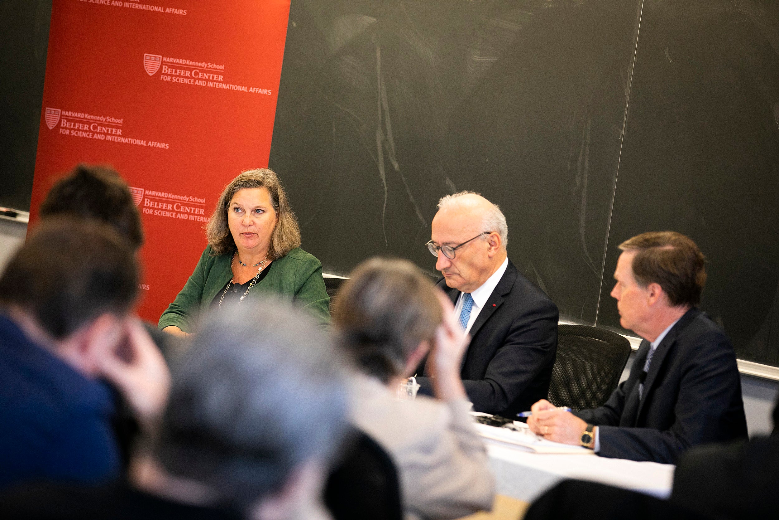 "Former Ambassador Victoria (""Toria"") Nuland speaks during an event with Ambassador of France to the United States Philippe Etienne moderated by Nicholas Burns."