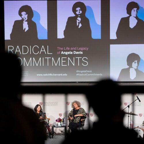 "Angela Davis and Neferti X. M. Tadiar, Columbia University speak during ""Radical Commitments: The Life and Legacy of Angela Davis"""