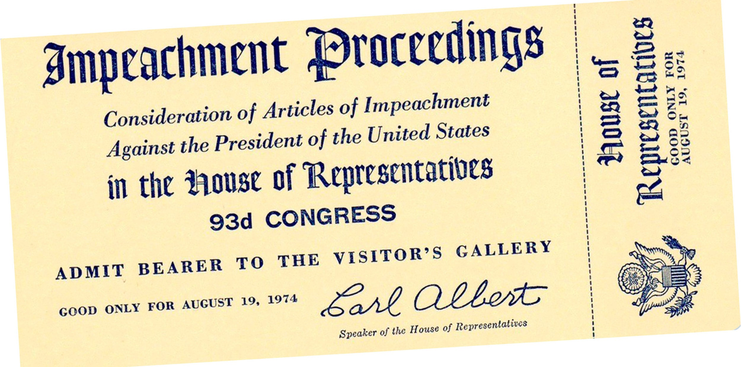 Nixon Impeachment Proceeedings ticket
