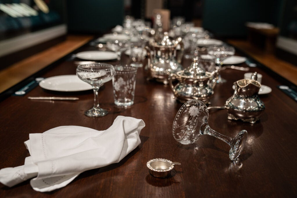 Crystal glasses at a table setting for a party