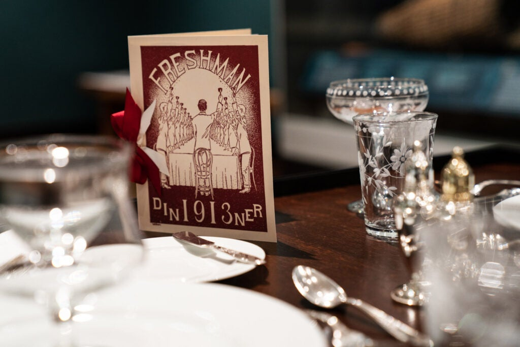 Class of 1913 card on a table