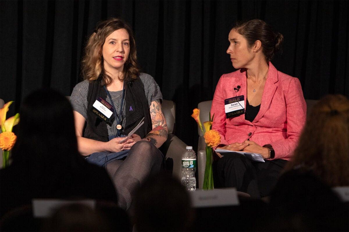 Raina McMahan and Dr. Sarah Wakeman at the confernce