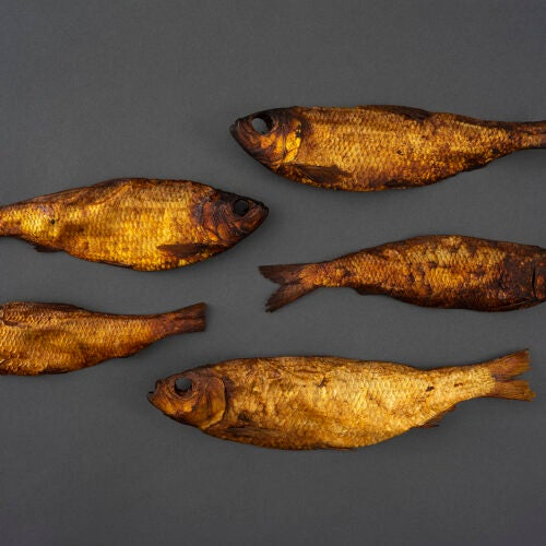 Preserved fish in a golden color