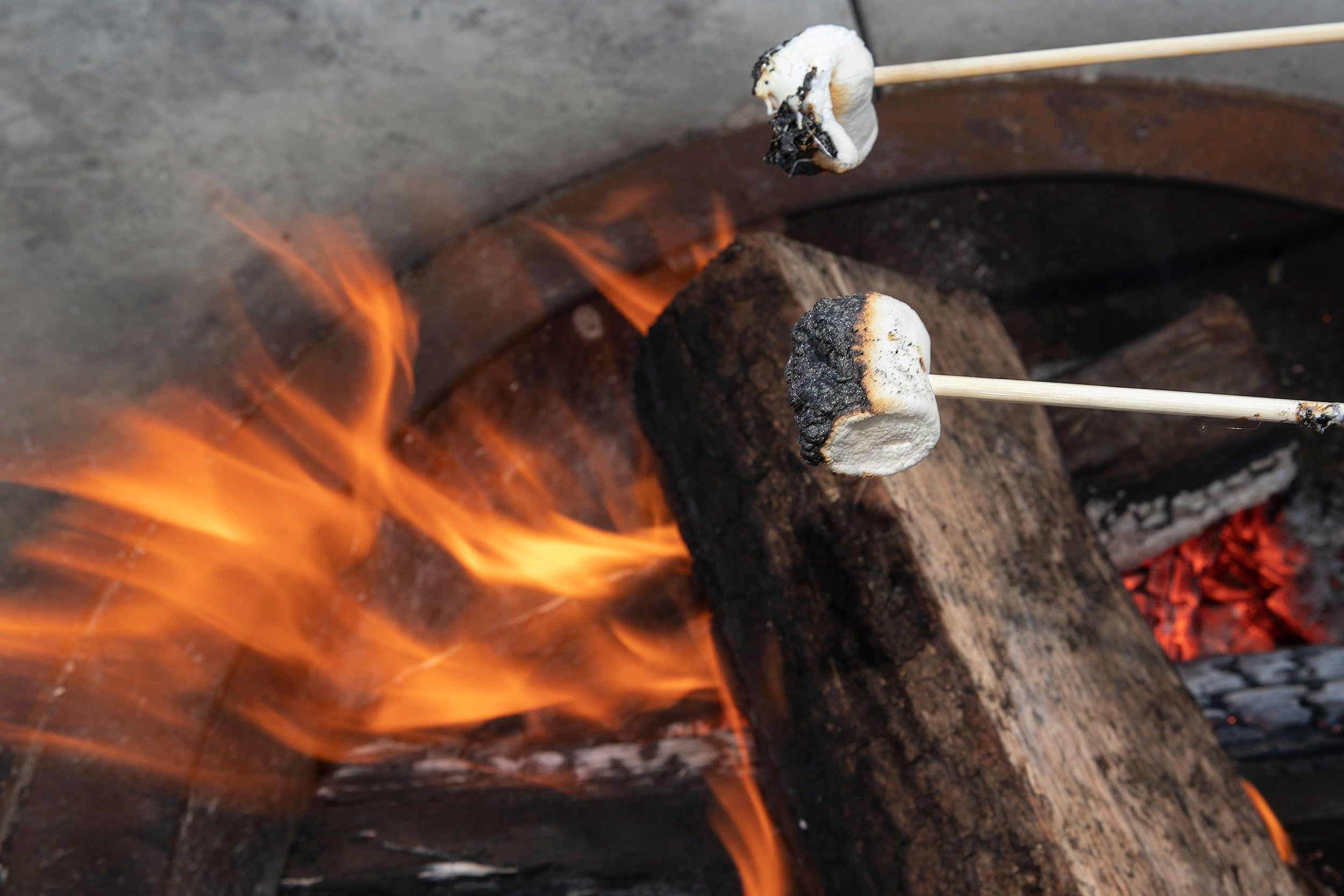 Marshmallows toasting over fire pit at the Science Center Plaza.