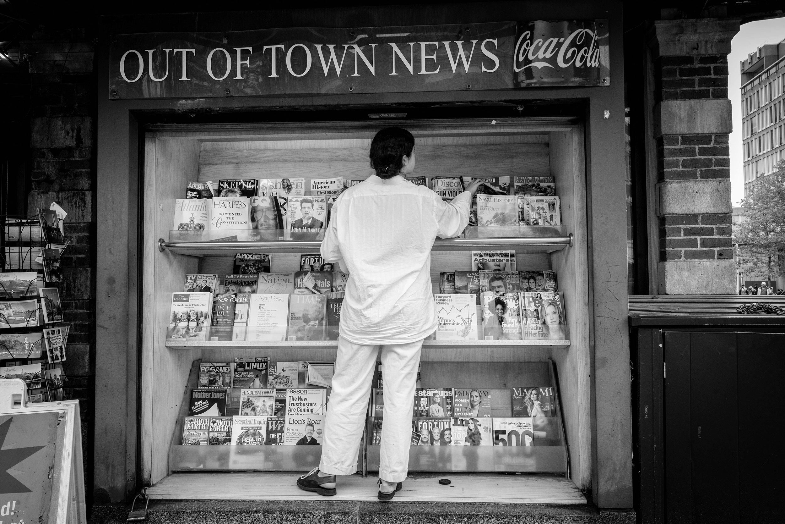 Magazine stand outside Out of Town News.