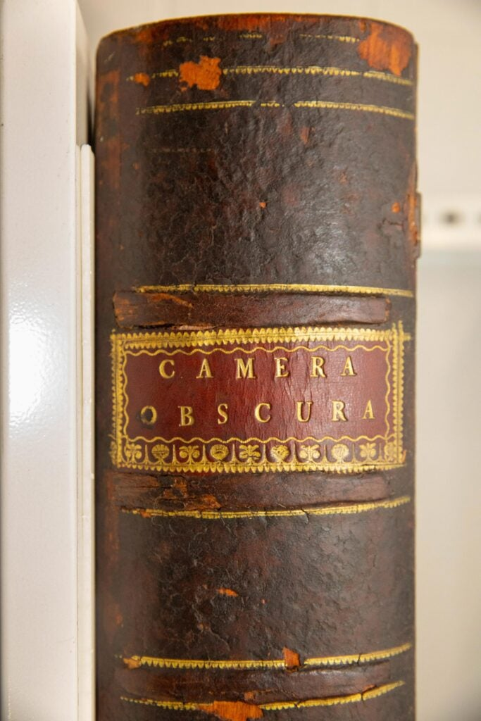 Benjamin Franklin selected this huge book-shaped camera obscura for Harvard College in 1765.