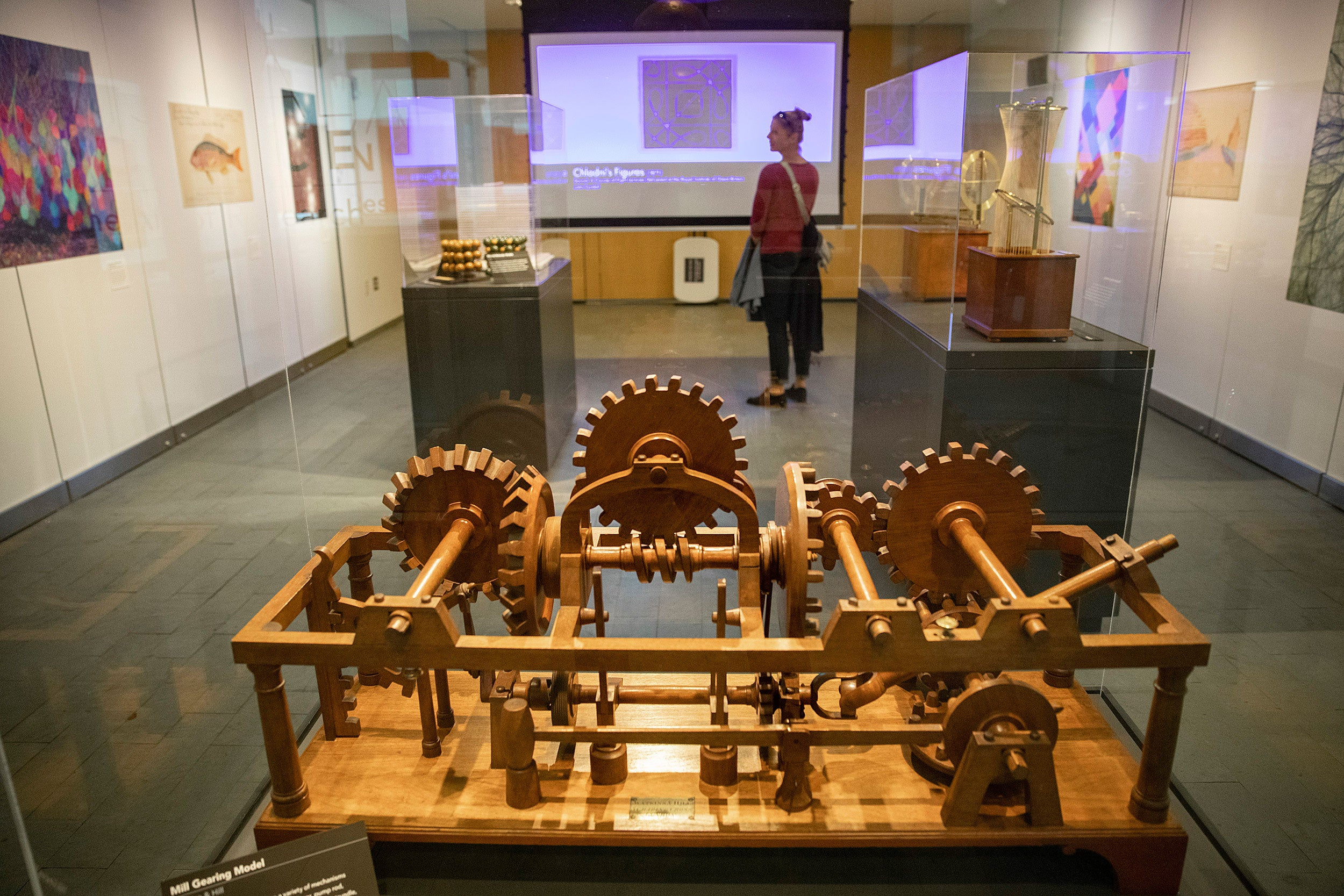 13. Harvard students learned mechanics from this wooden model of interlocking gears that was deployed in mills.