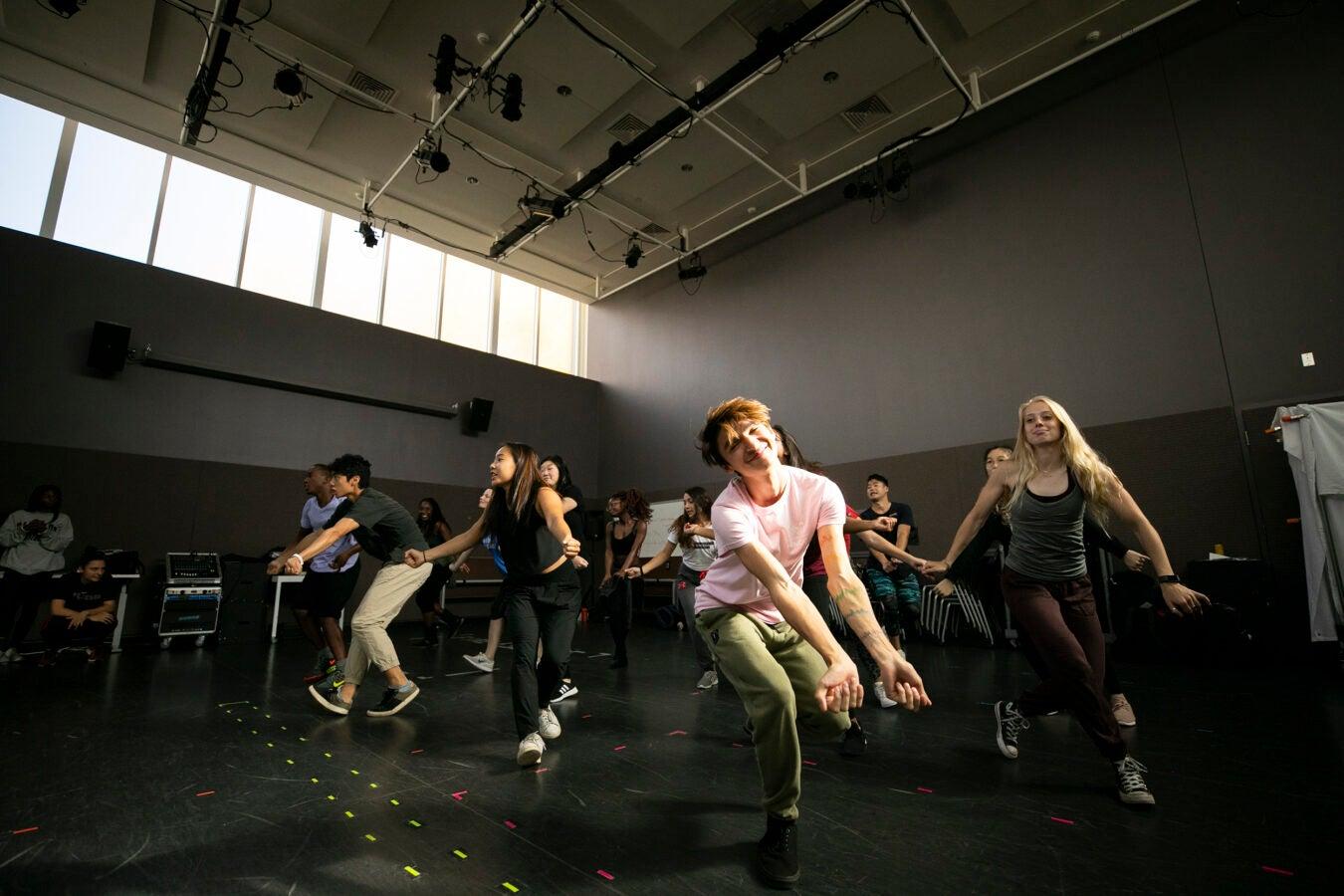 Daniel Rivera dances during class.