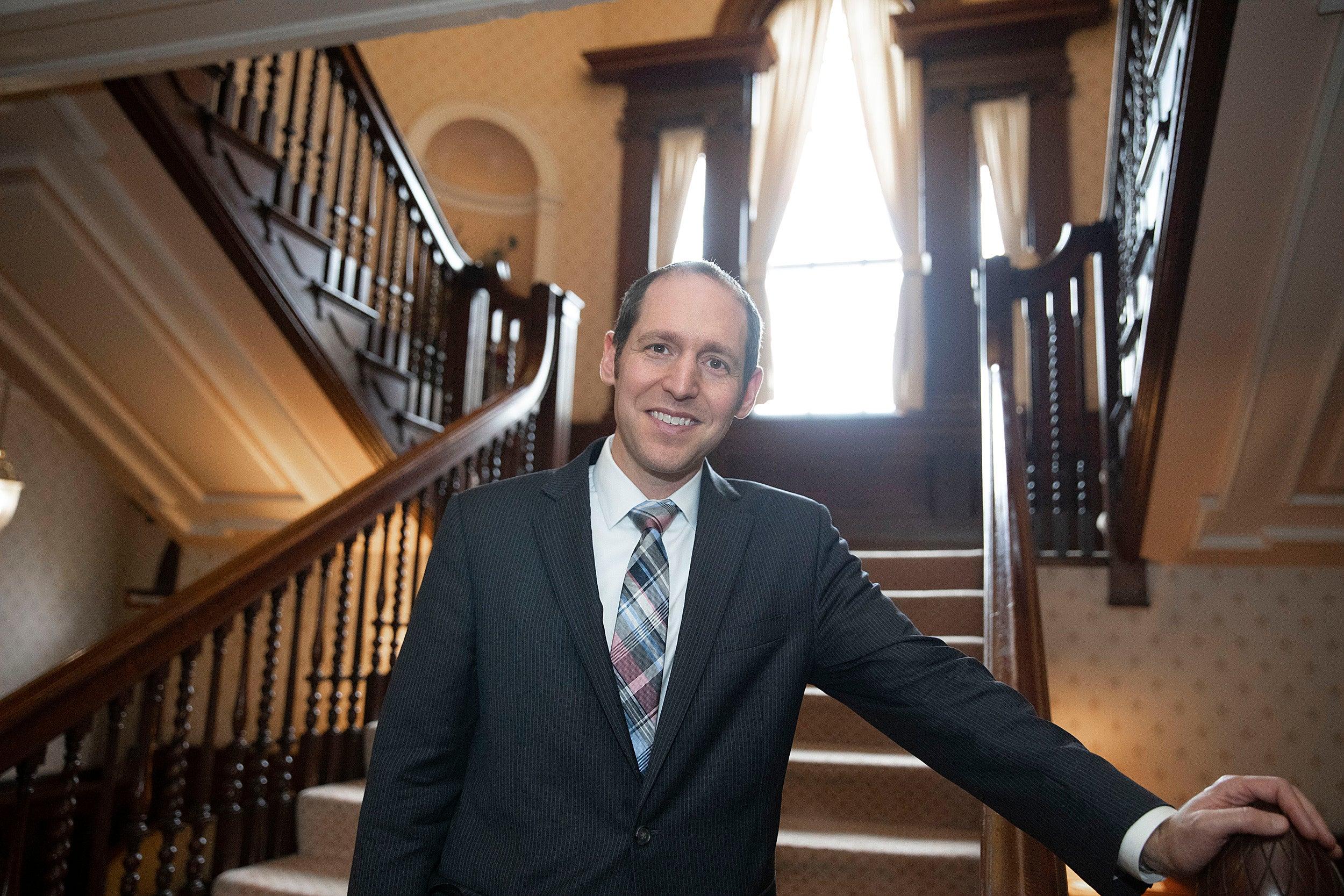 David Rosmarin on a staircase
