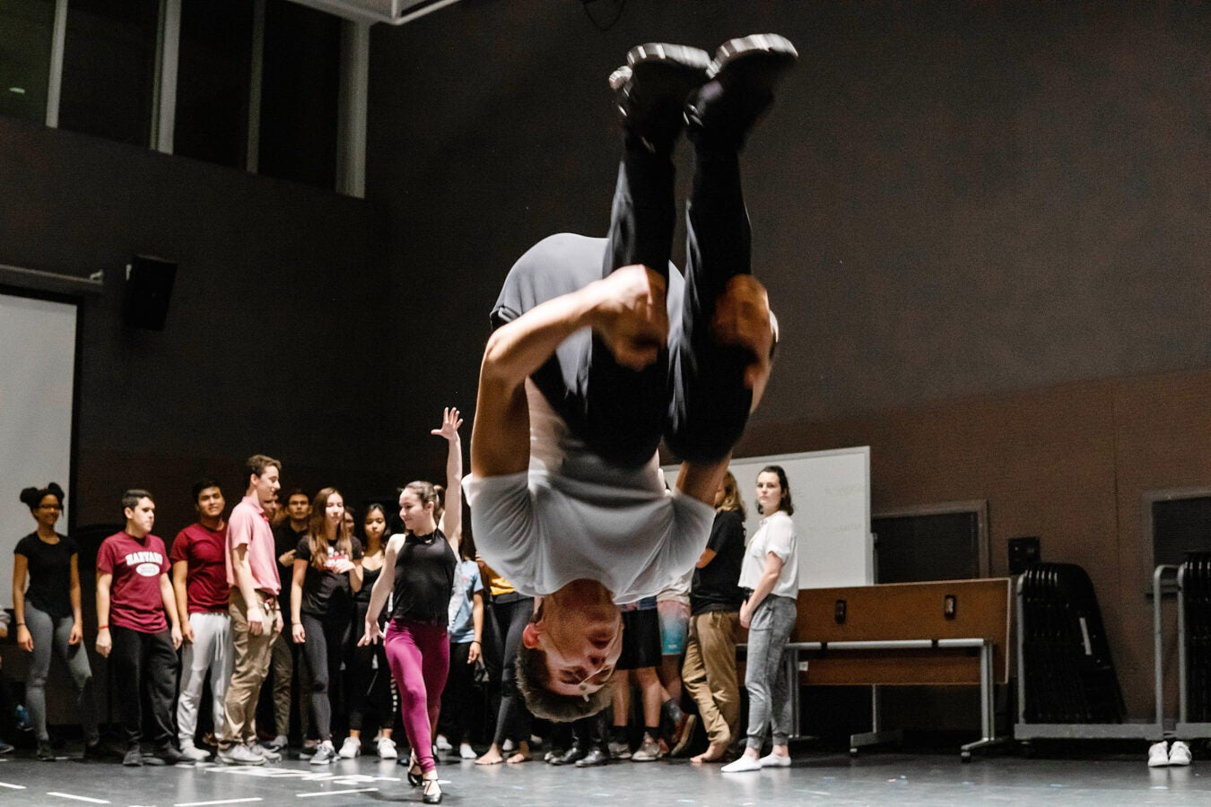 Performer does a backflip