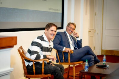 Mark Cuban and Jeff Flake laughing