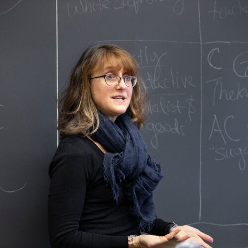 Caroline Light stands at the blackboard.