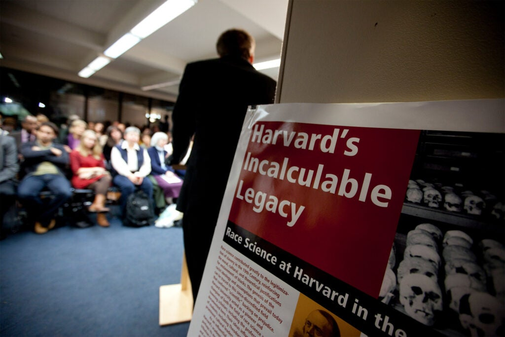 A lecture poster on slavery and Harvad.