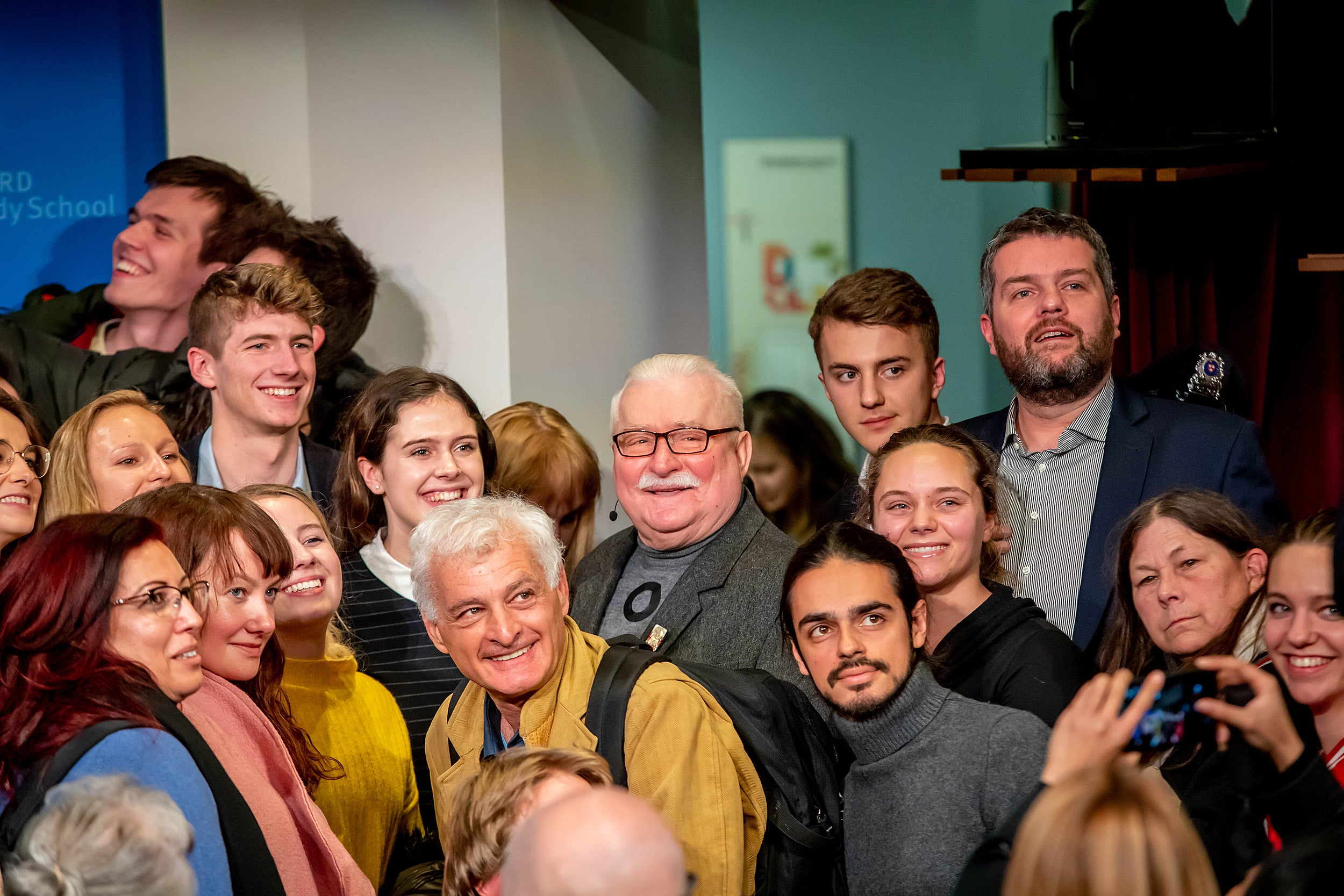 Walesa with students and others.