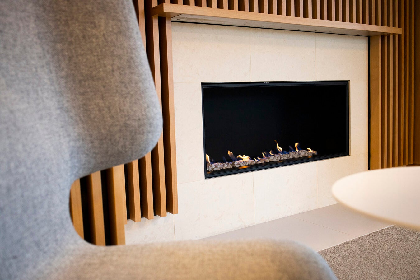 A modern gas fireplace at the Smith Campus Center.