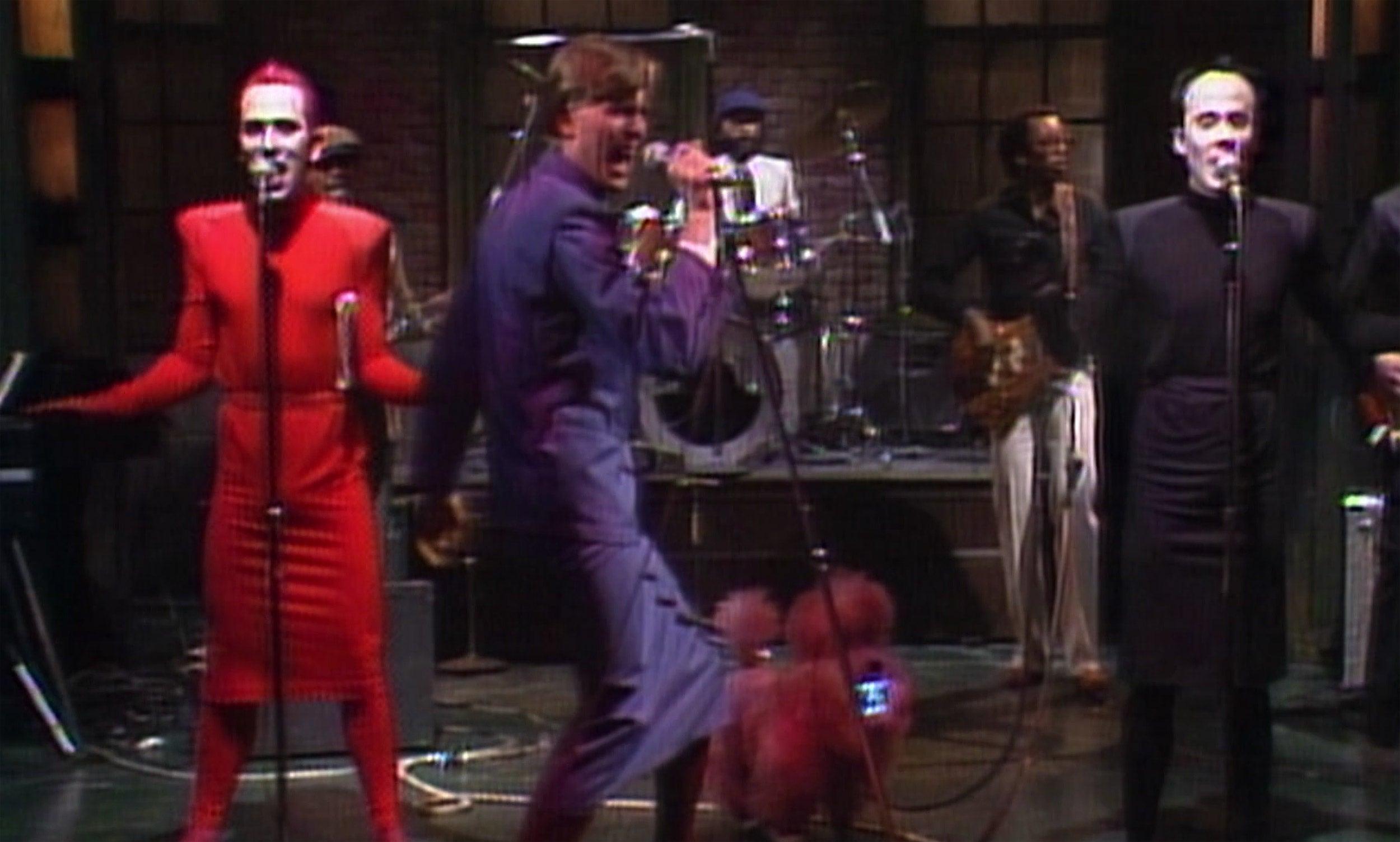 Joey Arias, David Bowie, Klaus Nomi perform on Saturday Night Live stage.