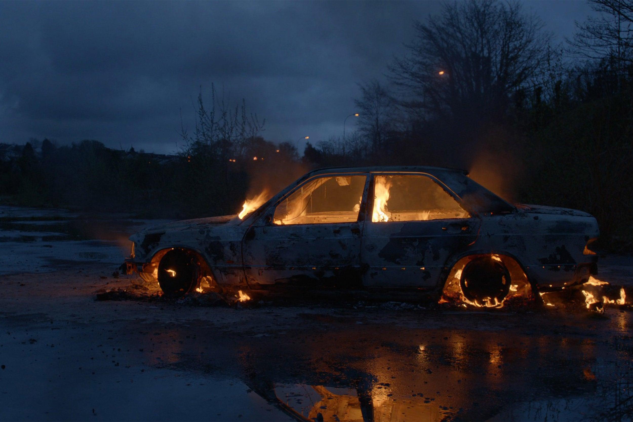 Car on fire.