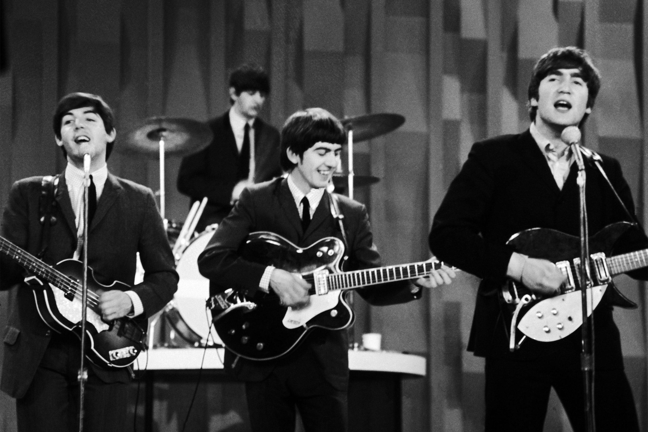 The Beatles performing on Ed Sullivan show.