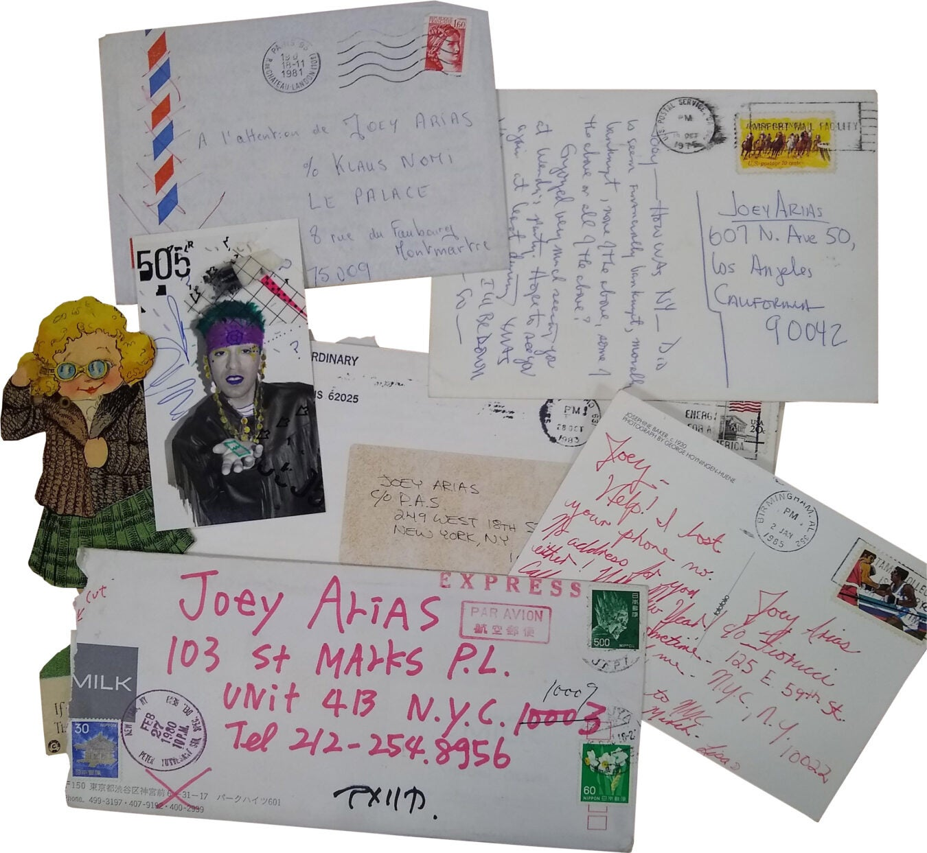 Joey Arias postcards, envelopes, letters.