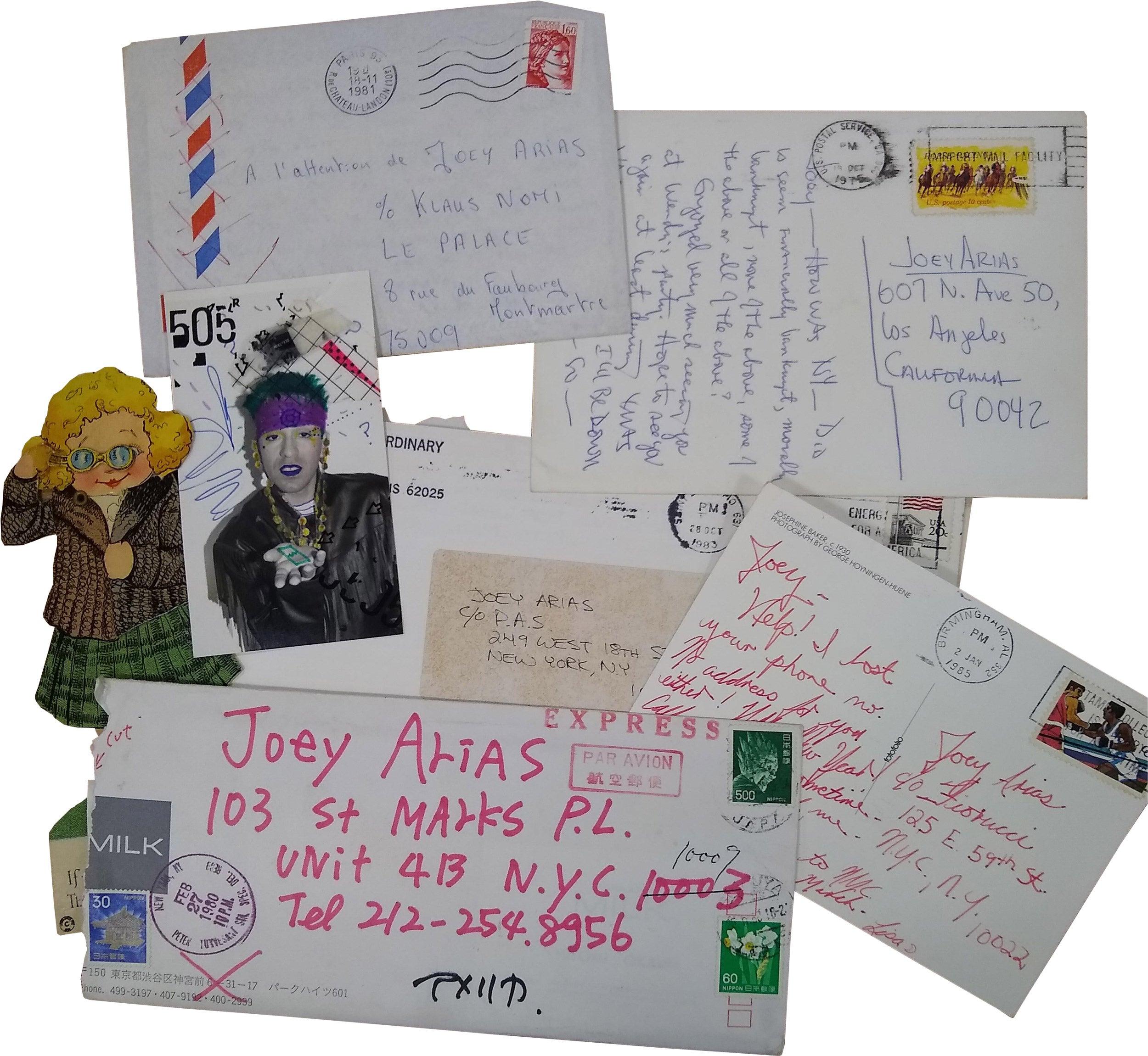 Joey Arias postcards, envelopes, letters.