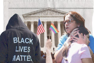 Photo illustration of rainbow pride flag and American flag waved by protester outside Supreme Court; man wearing Black Lives Matter shirt; mother holding child after school shooting.